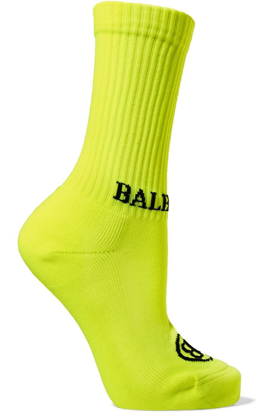 Intarsia ribbed stretch-knit socks
