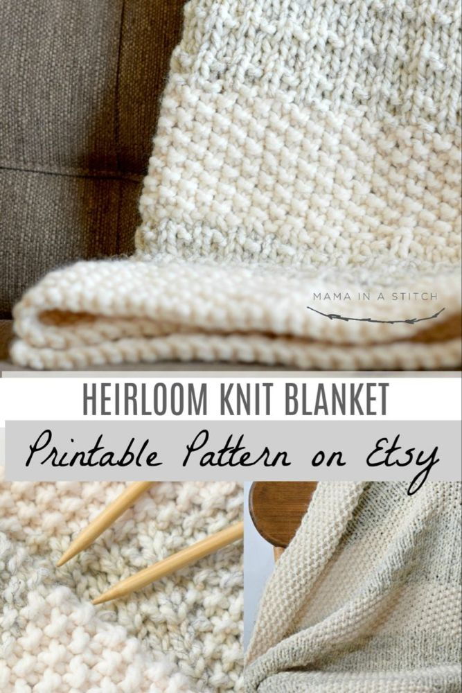 Easy Knit Blanket Pattern, Knit Throw Pattern, Easy Heirloom Knitting Pattern, Knit Blanket Pattern, Cream Grey Knitting Pattern, Lapghan #crochetedkitemsthatsell