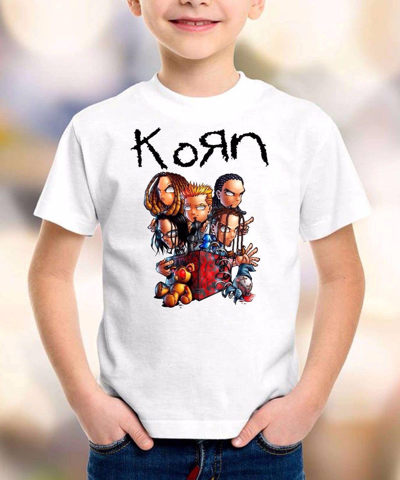 korn cartoon t-shirt korn t shirt children clothing toddler kid size:1-8years