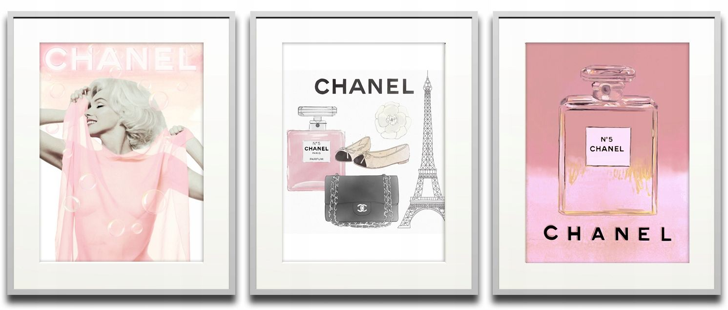 Chanel Glamour 40x50 X 3 Plakaty W Ramach Różowe Nowa