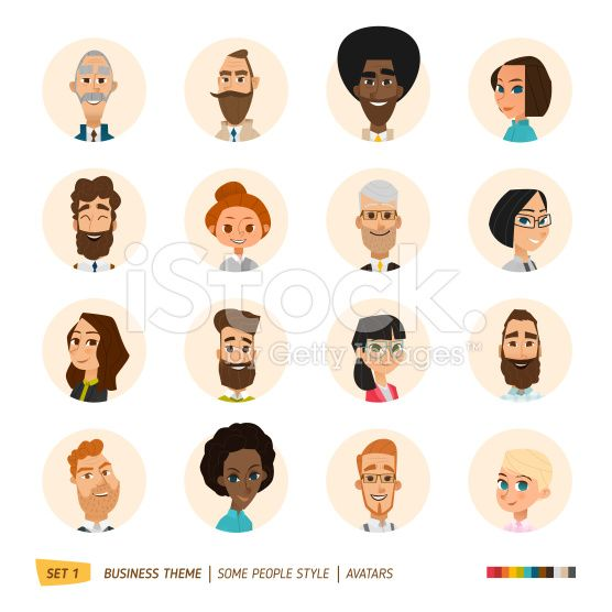 Business avatars collection  Cartoon graphic style