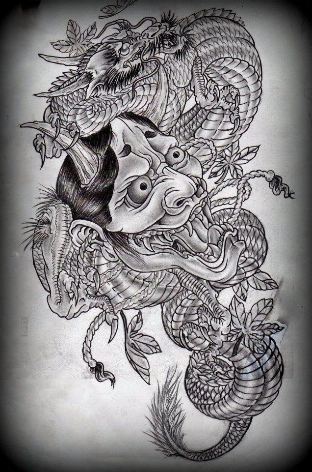 Hannya and dragon tattoo design on deviantART   Tattoo ...