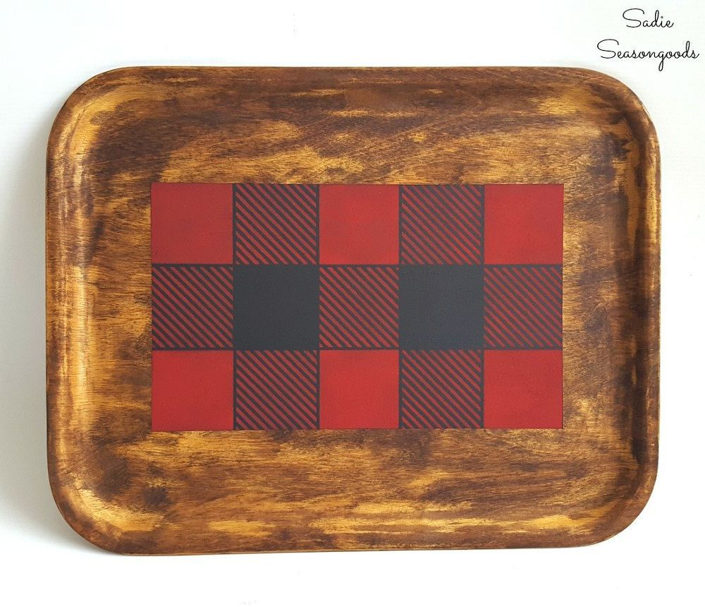 Plaid Tray For Easy Fall Decorating Fall Decor Rustic Cabin Decor Buffalo Plaid Decor