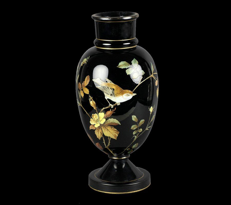 Antique Victorian Black Glass Vase 19th C Glass And Porcelain