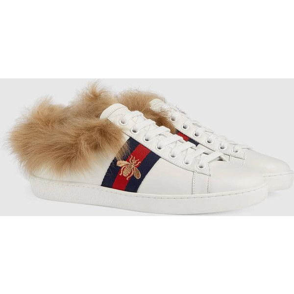 8081d50ab31 Gucci Ace Sneaker With Fur ( 840) ❤ liked on Polyvore featuring shoes