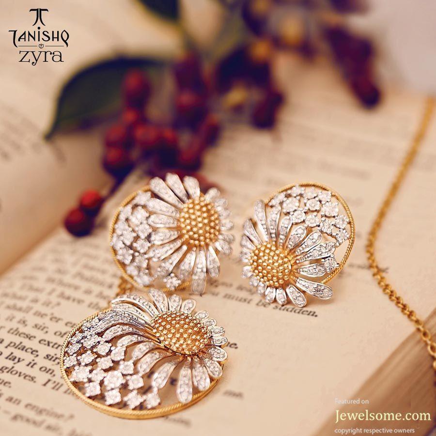 Tanishq Zyra Sunflower Pendant Jewelry Diamond Diamondjewellery Diamondearrings Diamond Pendant Sets Diamond Jewelry Designs Tanishq Jewellery