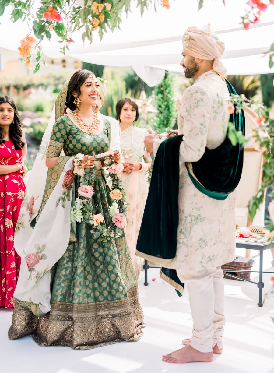 Indian American Fusion Wedding At Rosewood San Miguel De Allende In Mexico Couple Wedding Dress Indian Bridal Outfits Fusion Wedding [ 1225 x 900 Pixel ]