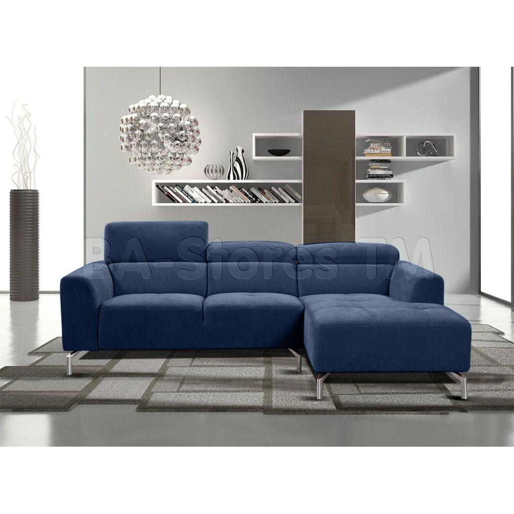 Sectional Sleeper Sofa Gemma Sectional Sofa with Adjustable Headrests Navy Blue Fabric