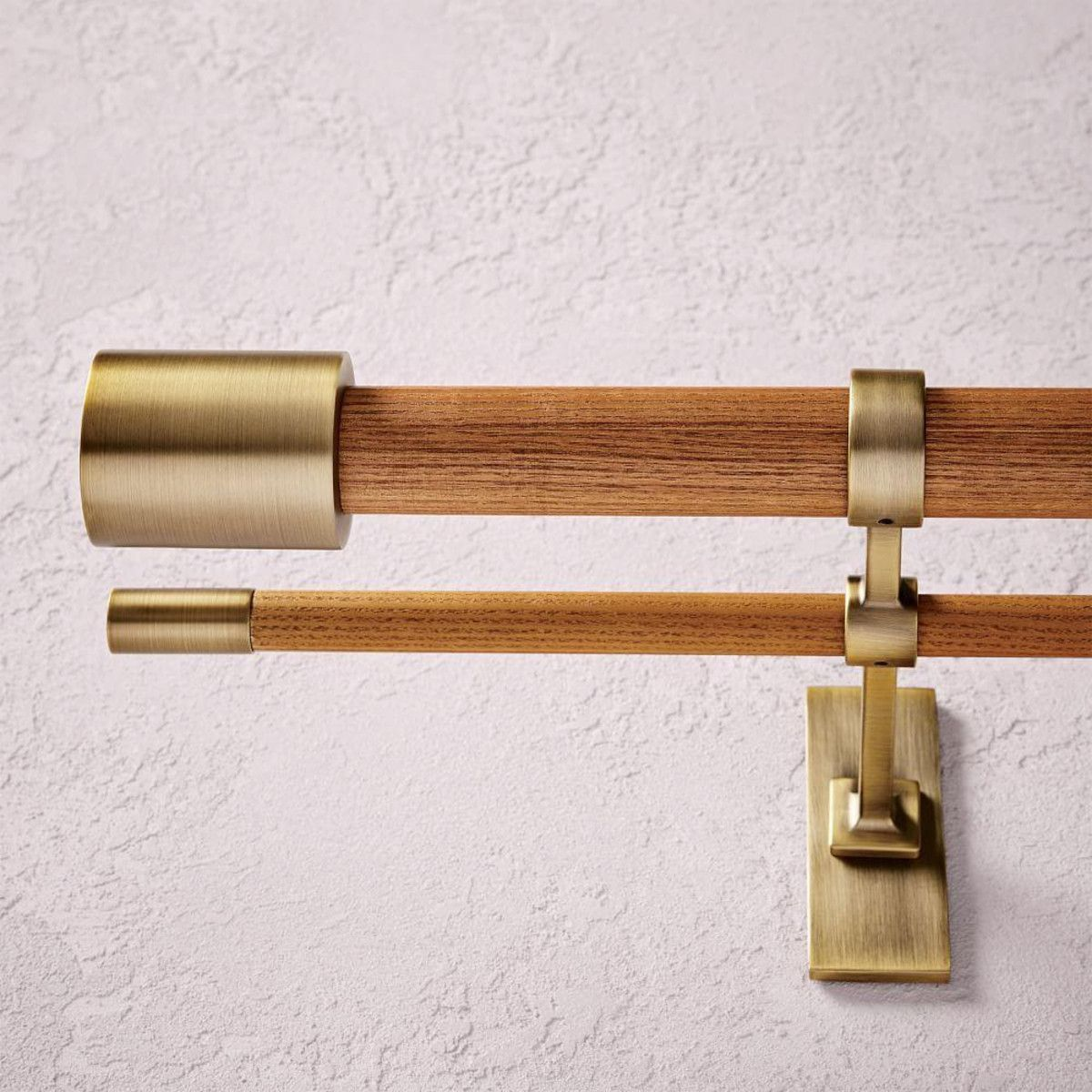 Mid Century Wooden Double Curtain Rod