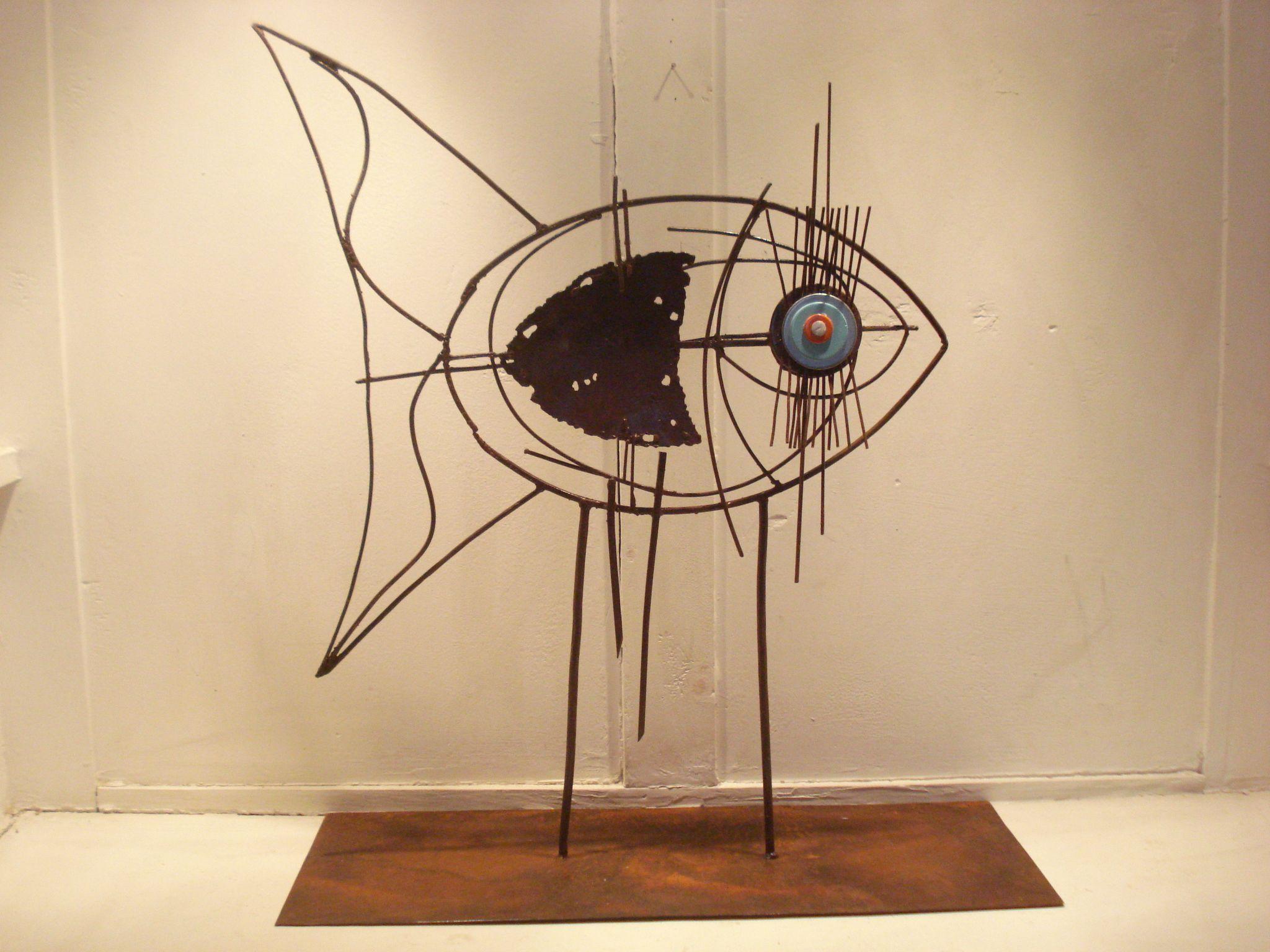 Escultura en hierro y chapa pez fish with long - Chapas de hierro ...