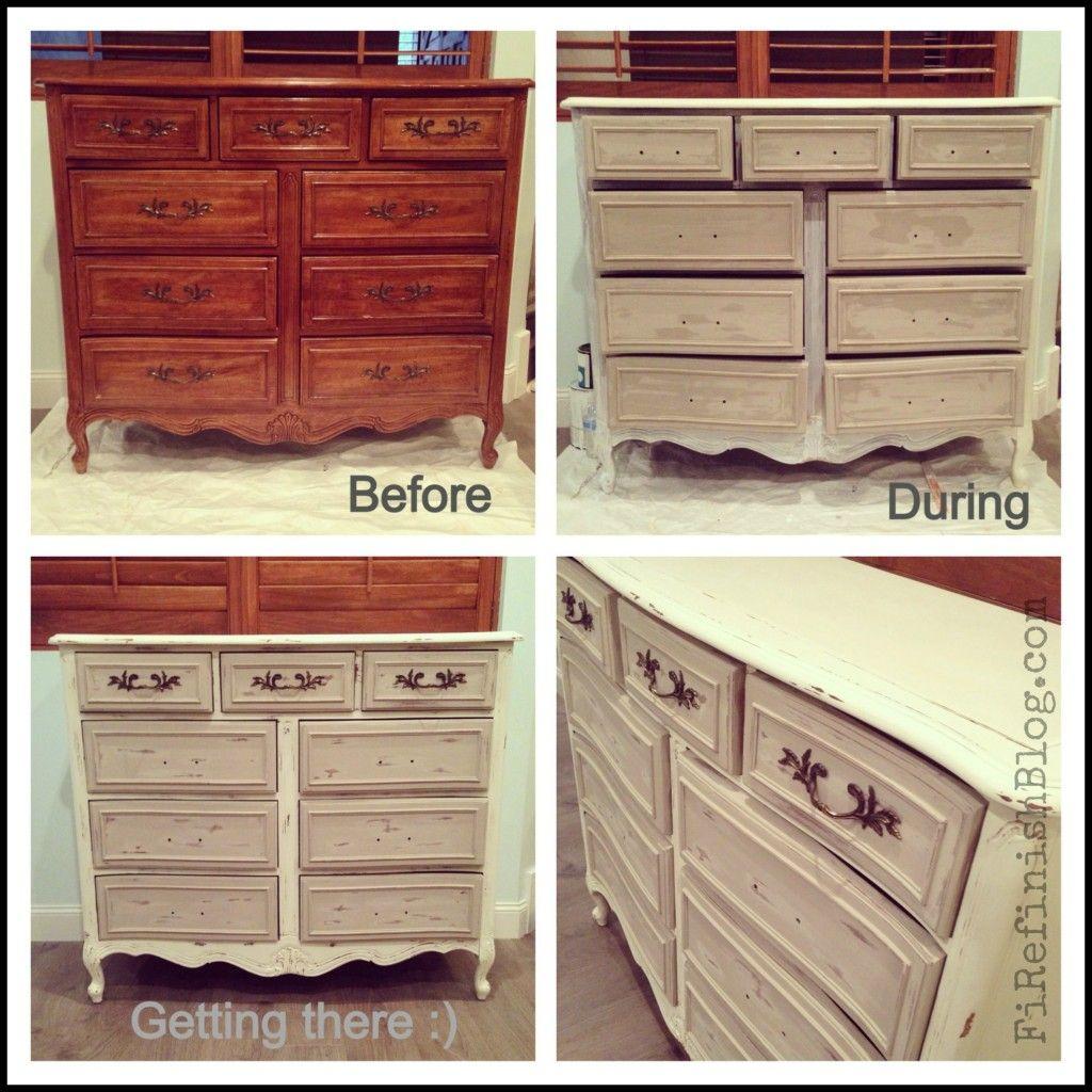white grey french dresser makeover progress