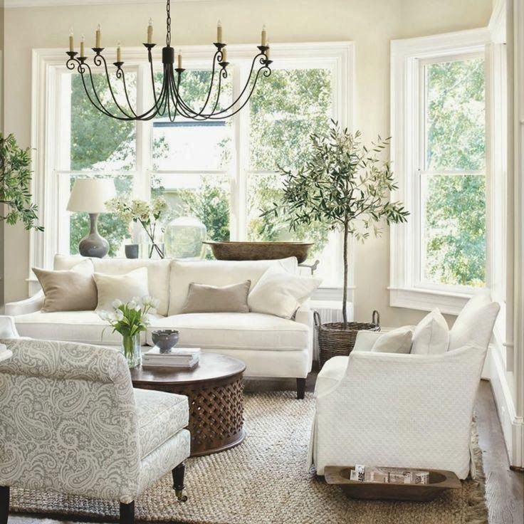 Dream Living Room: LOVE The Colors, Olive Trees, Chandelier, Jute Rug And