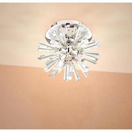 Possini Euro Crystal Burst 8 Quot Wide Chrome Ceiling Light