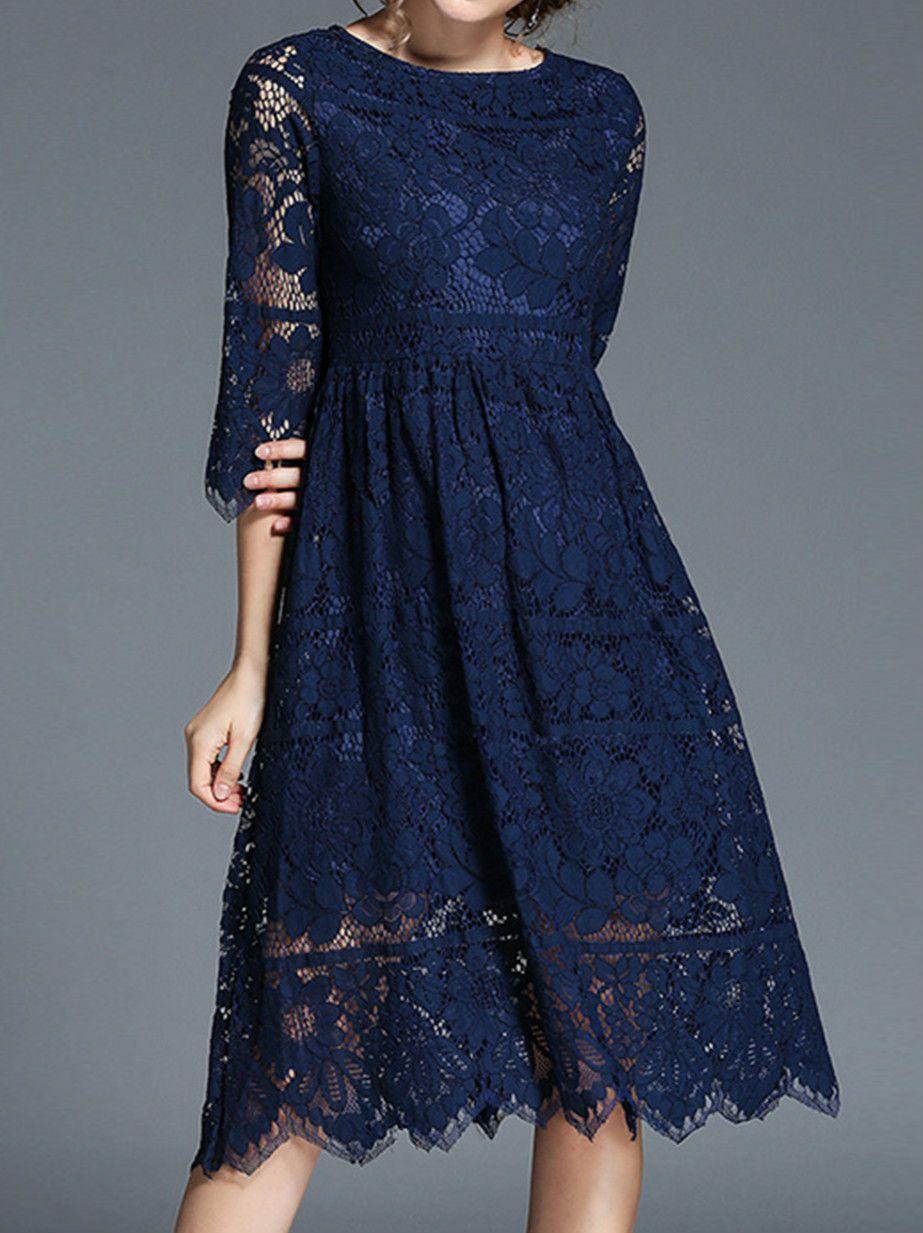 Three quarter length sleeve lace dresses azbro clothes