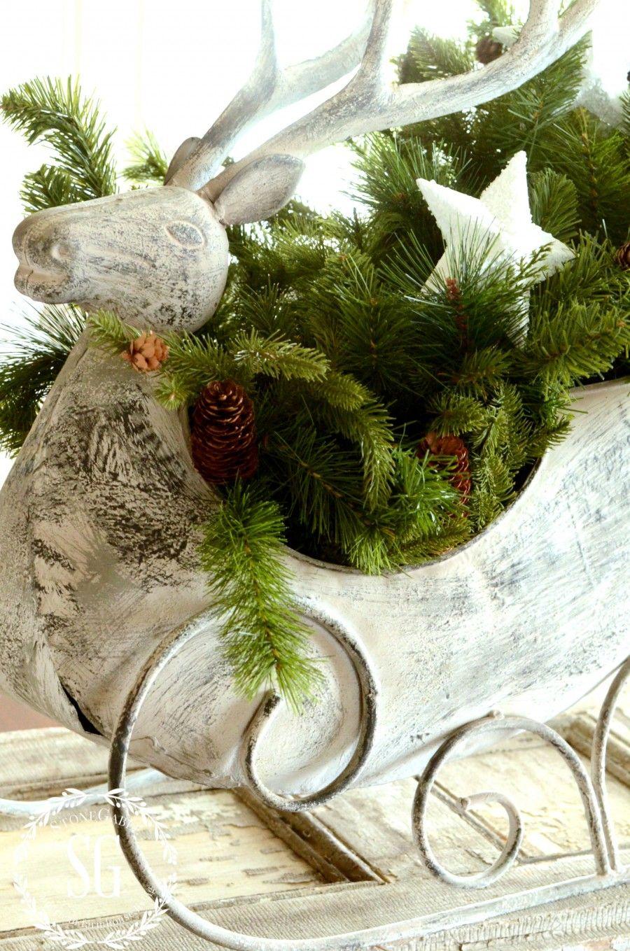 FRENCH INSPIRED CHRISTMAS IN THE DINING ROOM-reinndeer sleigh-greens-stonegableblog.com