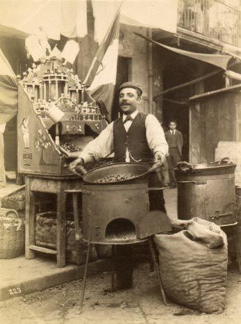 1870s, Chestnut Vendor, Italy. Fotografia Artistica, P. Esposito e F. Achille, Strada di Chiaia 123, Napoli.