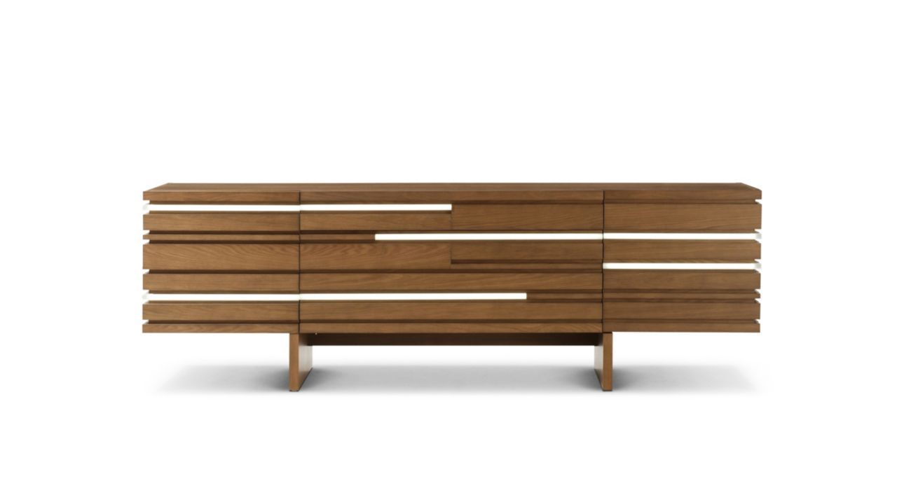 Sideboard with 2 doors, 1 drawer, and 1 flap. Structure in oak veneer on engineered composite wood. On the front: layers of solid oak and Altuglas® backlit by LEDs with dimmer.   Manufactured in Europe.