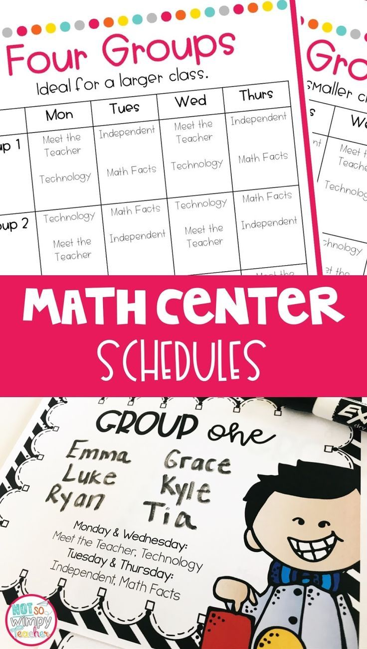 Part 3: Schedules for Math Centers