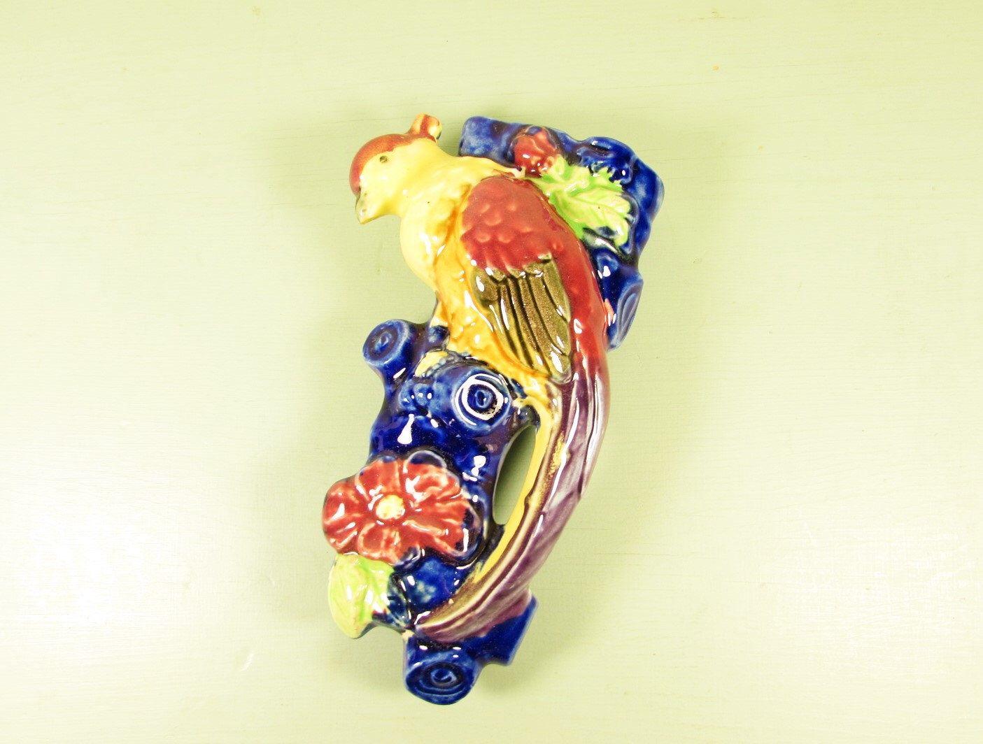 Japan Wall Pocket - Vintage Ceramic Bird of Paradise Blue Tree Trunk ...