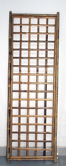 Framed Bamboo Lattice Panel, square opening pattern, 24\