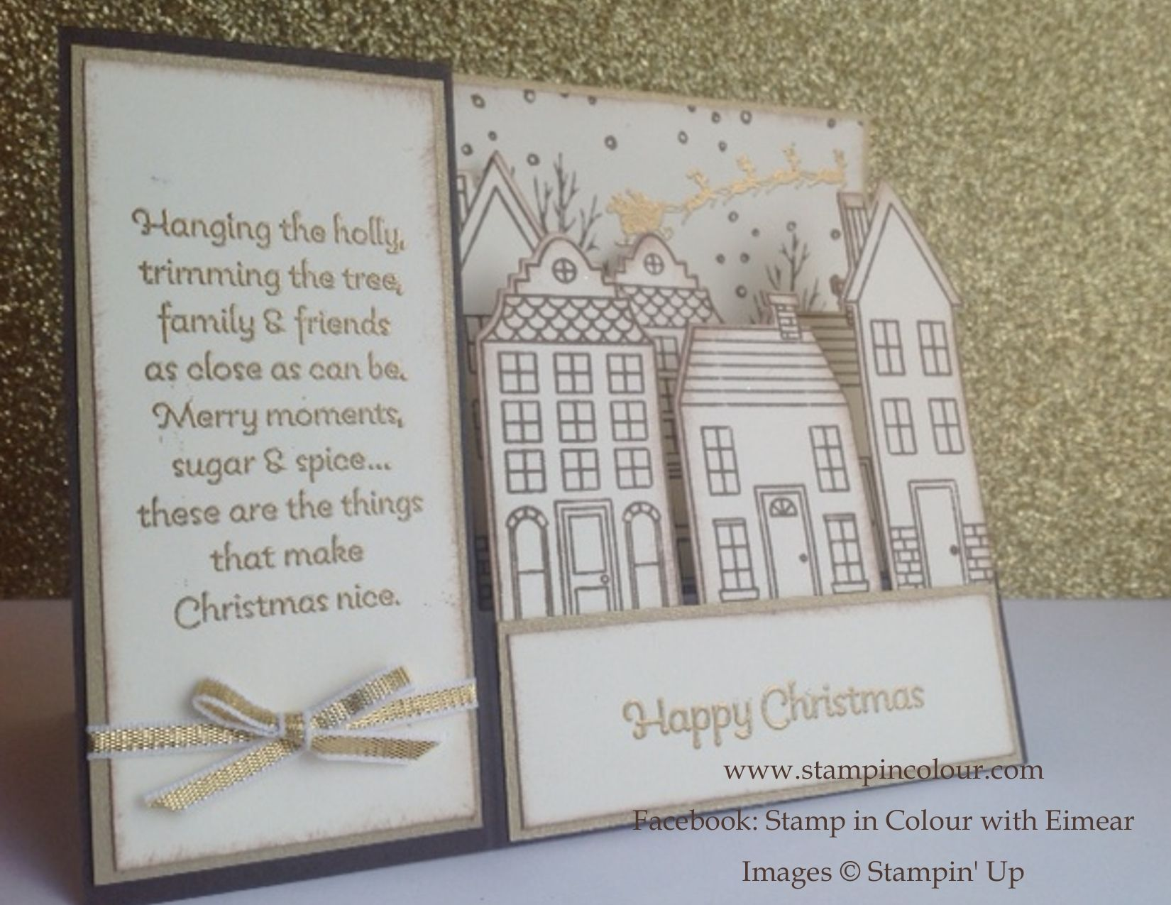 Stampin up stair step card holiday home early espresso 001 stampin up christmas card ideas with white christmas holiday home and stair step cards kristyandbryce Gallery