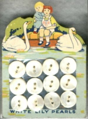 """(::)  vintage pearl buttons on """"White Lily"""" original factory card.  Swans swimming near a girl & boy perched on a low stone wall.  From Washington, Iowa factory of the American Pearl Button Co. ( 1908-1965 )"""
