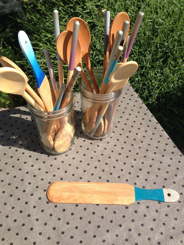 Spatule crêpes bleu pétrole, argent et paillettes de la boutique CM17boutique sur Etsy