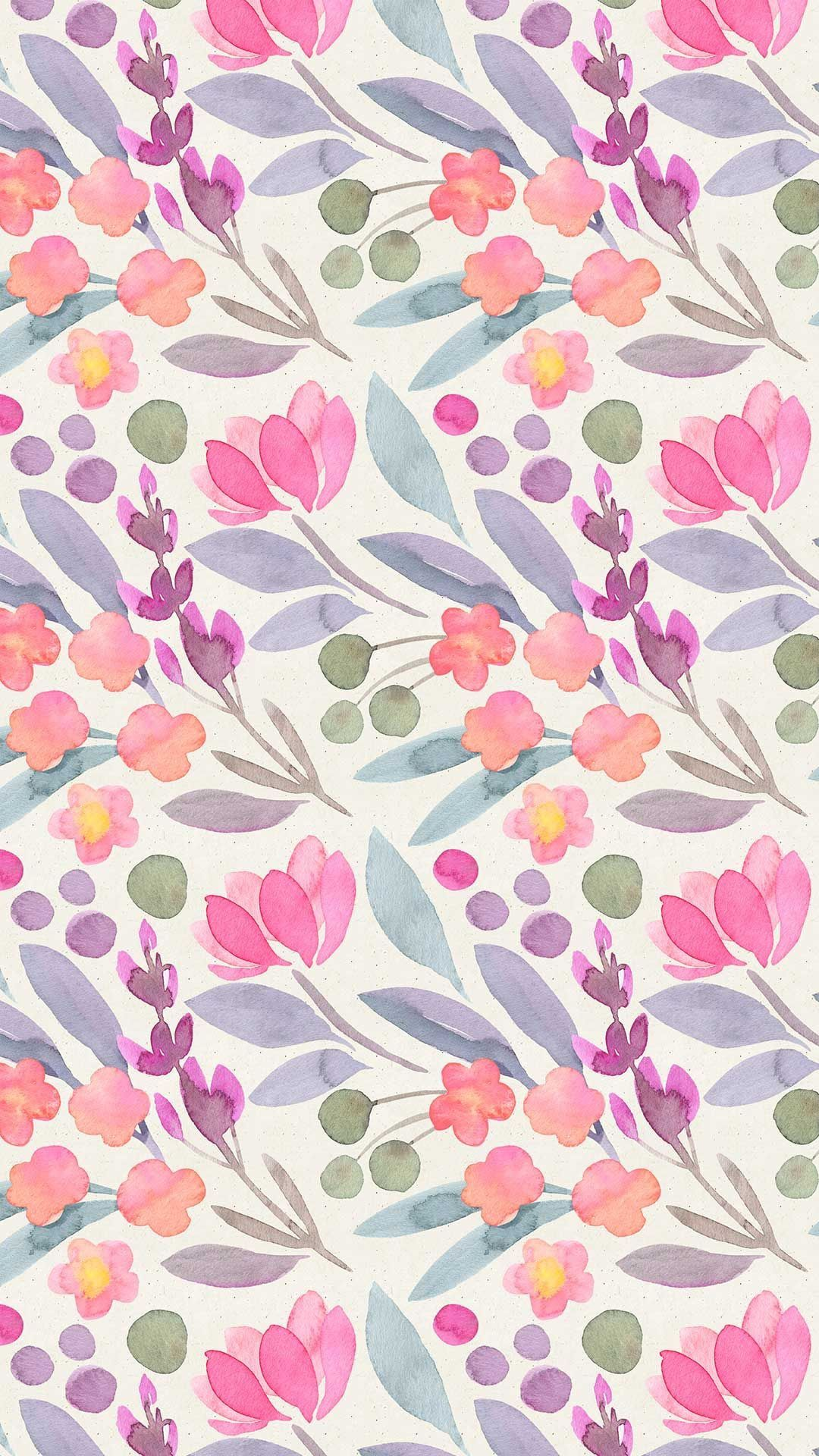Delicate Floral Watercolour Pattern In Pinks Blues Purples