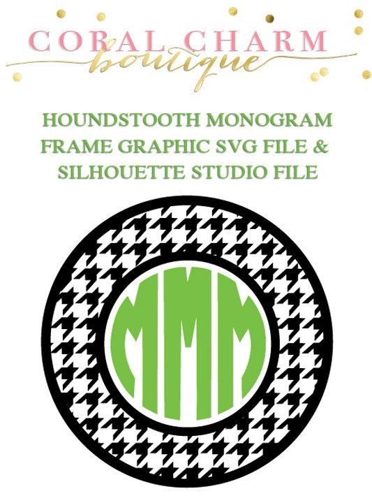 Houndstooth Monogram Frame File for Cutting Machines | SVG and ...