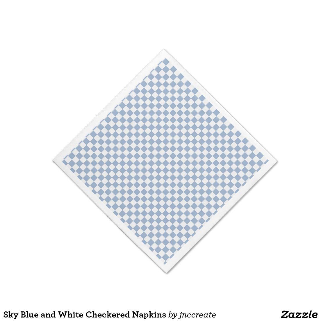 Sky Blue and White Checkered Napkins