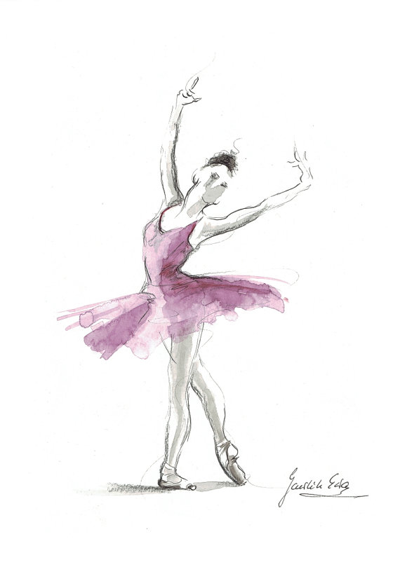 Original Watercolor Art Painting Of Ballerina By Ewa Gawlik Avec