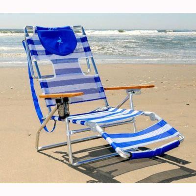 Outstanding Ostrich 3N1 Beach Chair Blue White Stripe Beach Chairs Beatyapartments Chair Design Images Beatyapartmentscom