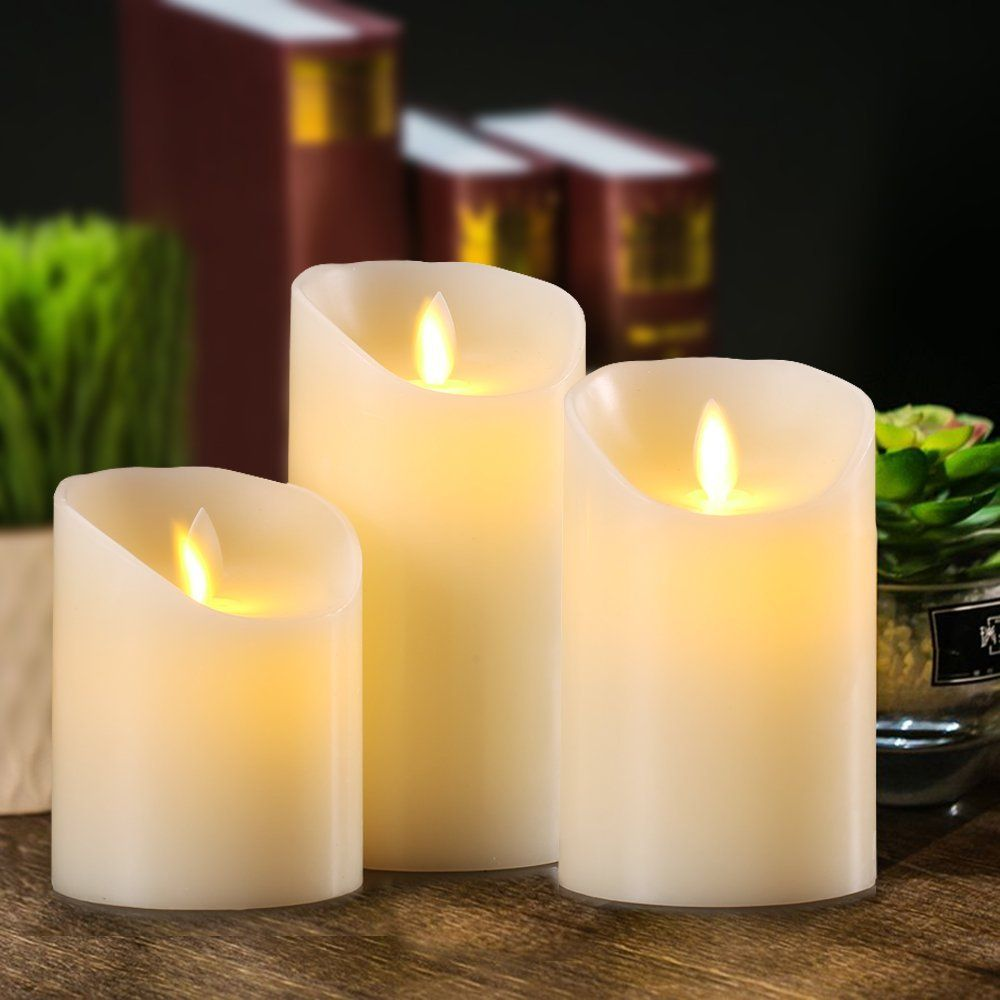 Flameless candles battery operated pillar real wax flickering moving