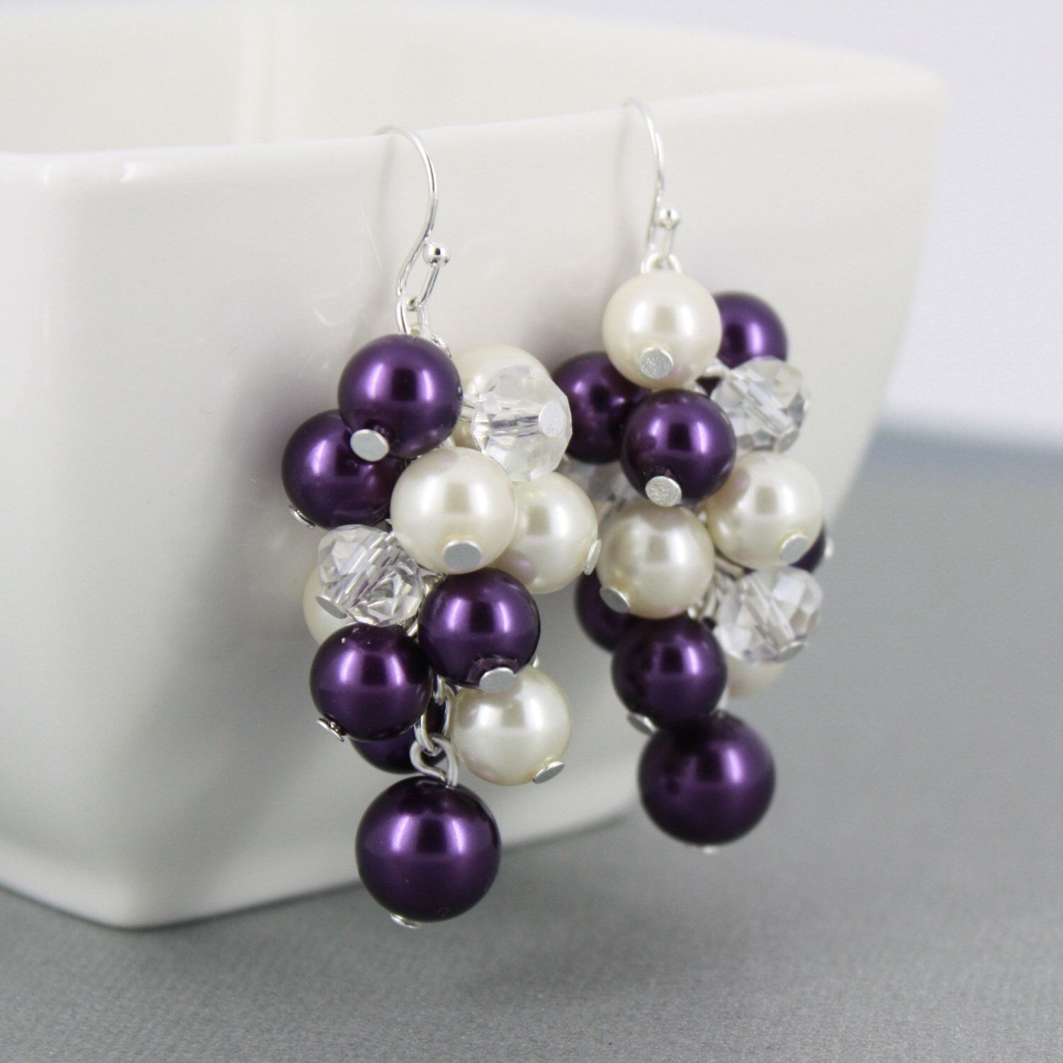 Purple And Ivory Earrings Chunky Bridesmaid Bridesmaids Gifts Cer