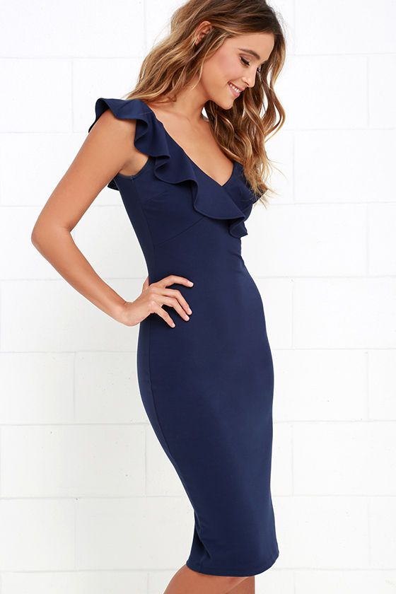 6c5f31e957 Ready to Ruffle Navy Blue Midi Dress in 2019 | My Style | Navy blue ...