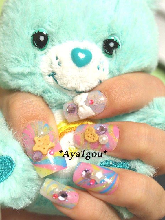3D nails water marbling fairy kei sweet lolita pastel by Aya1gou ...