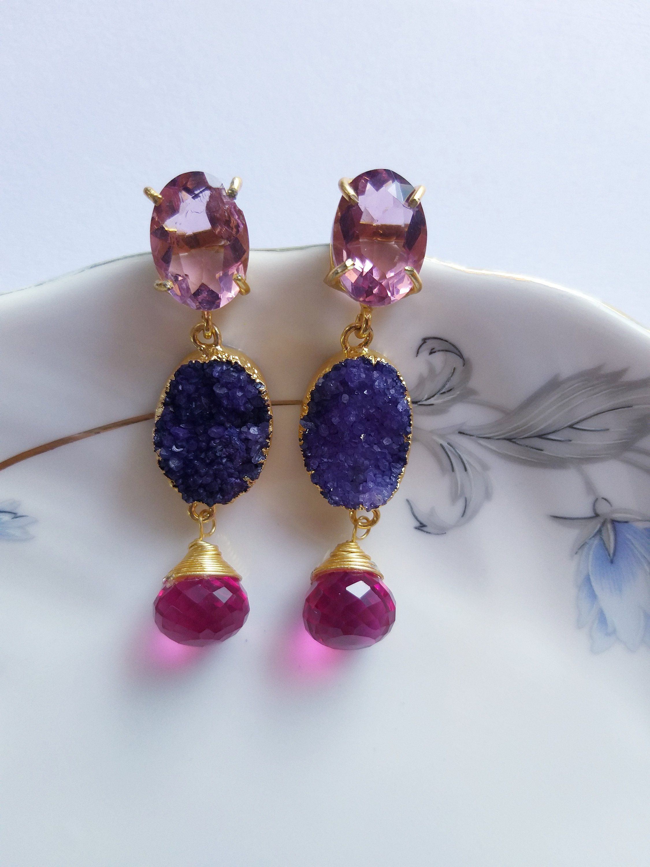 Druzy Agate Earrings Gold Plated Earrings Druzy Slice EarringsFashion JewelleryUnique giftsGemstone EarringsHydro Stud Earrings