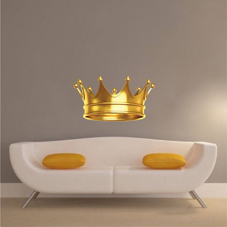 gold crown wall mural decal - boys room wallpaper - king crown wall