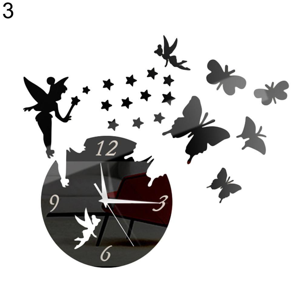 Photo of 3D Acrylic Wall Clock Fairy Butterfly Stars DIY Art Stickers Home Room Decor – Black