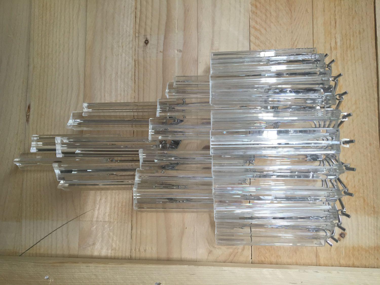 Applique tipo venini triedo vetro murano montatura kromo twister di