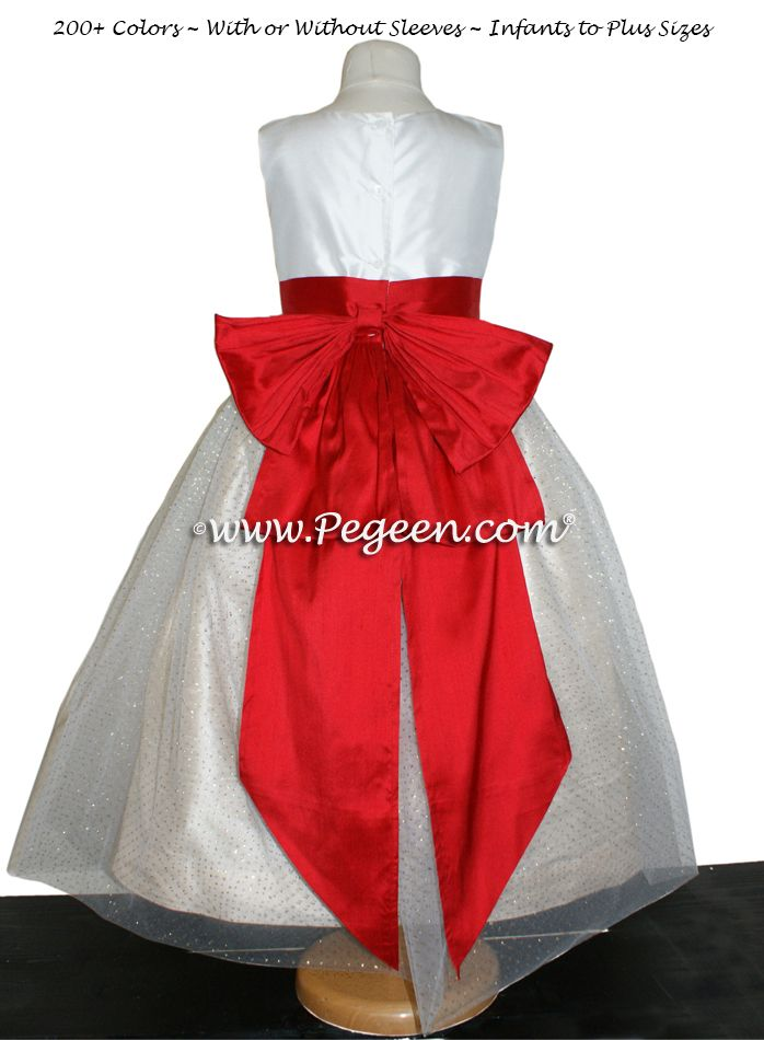 c8ca24809 ANTIQUE WHITE, CHRISTMAS RED AND PURE GOLD CUSTOM FLOWER GIRL DRESSES STYLE  326 BY PEGEEN