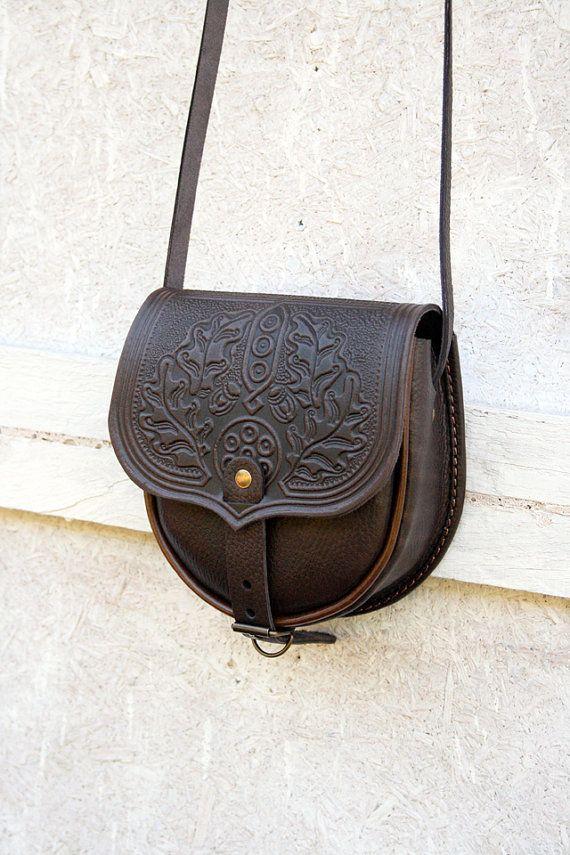 85d4bb4c7b brown chocolate tooled leather bag - shoulder bag - small crossbody bag -  handbag - ethnic - for women - small crossbody purse - mini purse