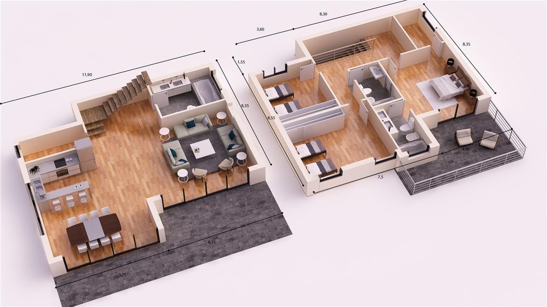 MARBELLA DONACASA 200 M2 , Hormigón celular con trasdosado tejado - plan maison plain pied 200m2