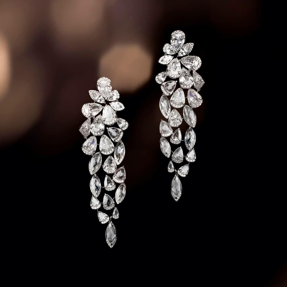 Pin By Jp Diamonds Dinesh On Designs Round Diamond Earrings Diamond Chandelier Earrings Wedding Earrings