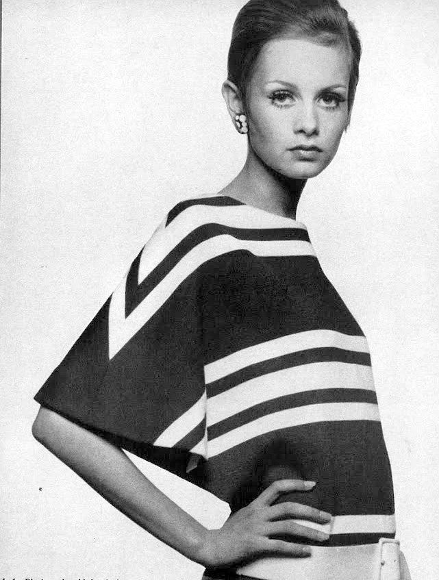 Twiggy in a white on red striped wool jersey by Grès, photo by Bert Stern, Vogue 1967