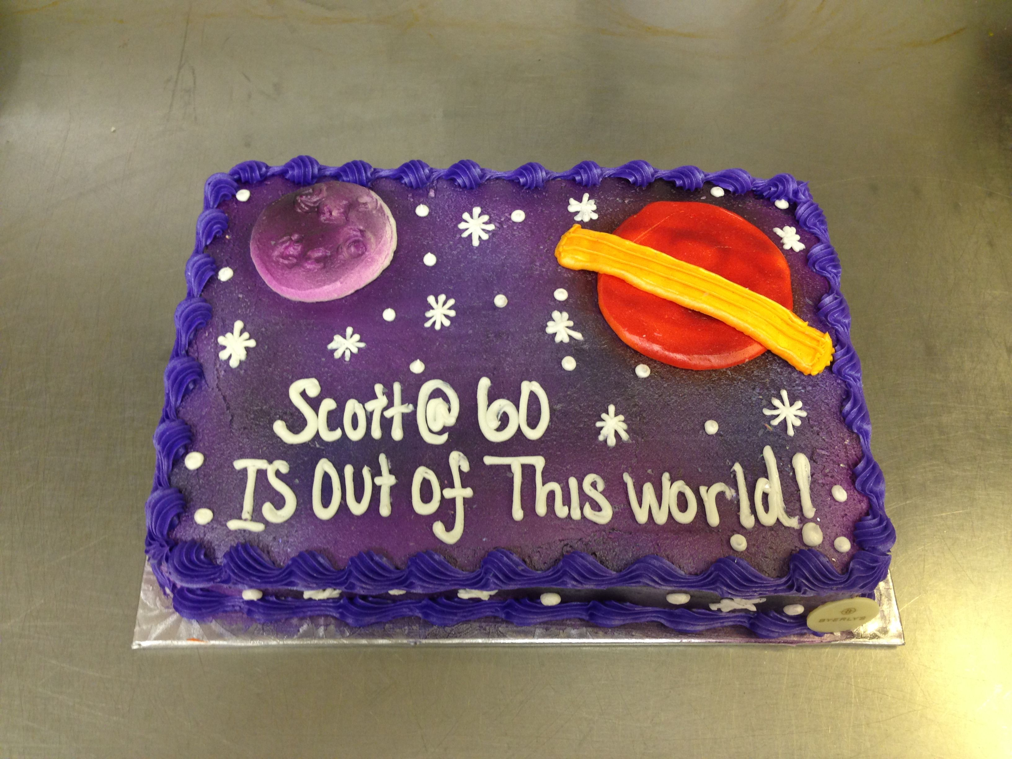 1 4 Sheet Space Theme 60th Birthday Cake Cake Drawing 60th Birthday Cakes Cake