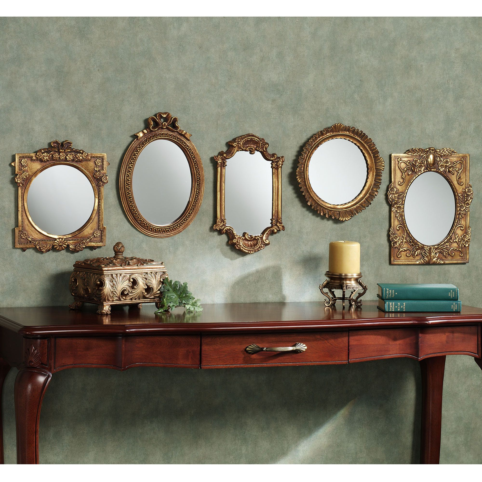 Timeless Tradition Accent Mirror Set Gold Set of Five ...