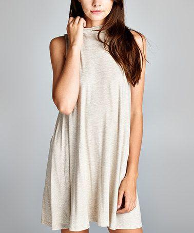 Another great find on #zulily! Ivory Mock Neck Sleeveless Dress - Women #zulilyfinds