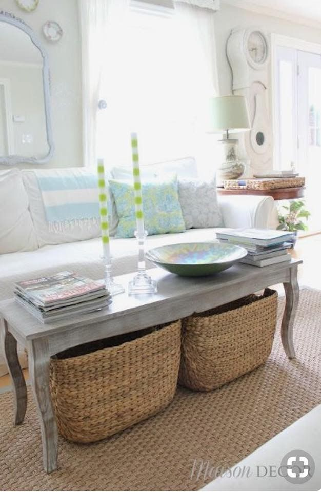 Baskets Under Coffee Table