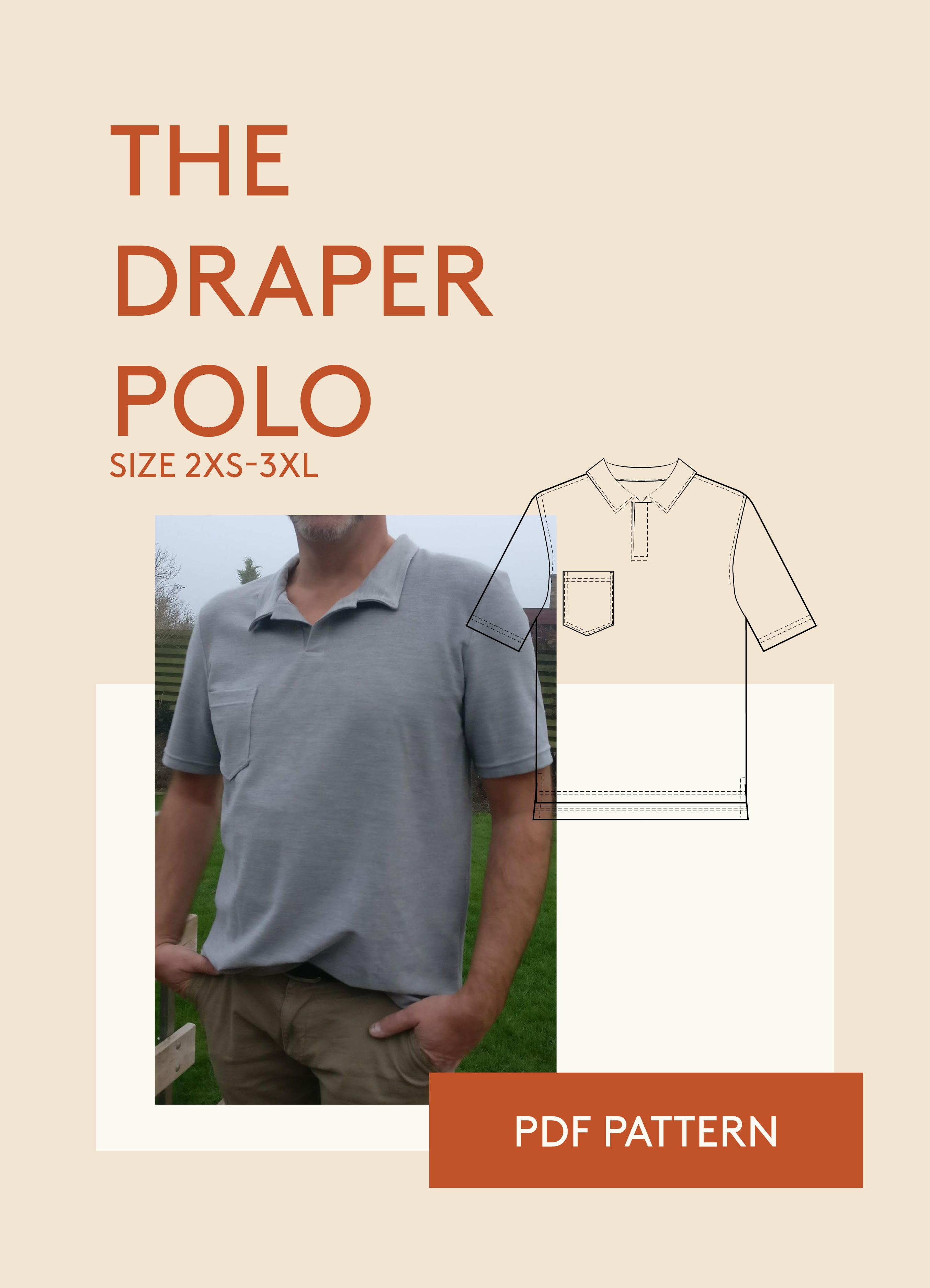 Polo T Shirt Pdf Sewing Pattern For Men Instant Download And